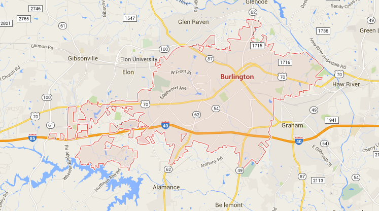 burlington nc map